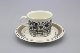 CUP AND SAUCER 0.18L - BLACK-AND-WHITE, GREY RIM