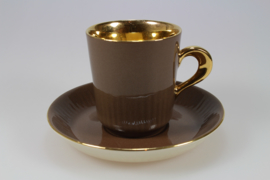DEMITASSE AND SAUCER - BROWN / GOLD