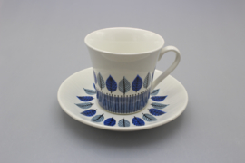 COFFEE CUP AND SAUCER - LIGHT BLUE / DARK BLUE