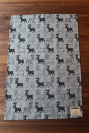 TEA TOWEL REINDEER BLACK
