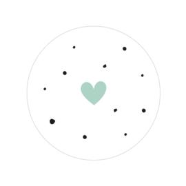 24 ronde stickers | Stipjes & hartje - Pastel groen