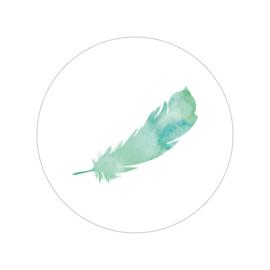 24 ronde stickers   Feather / veer - groen