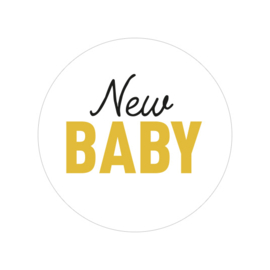 24 ronde stickers | New baby - oker