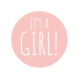 42 ronde stickers | 'It's a girl!' roze - wit