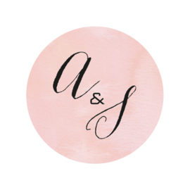 24 ronde stickers | Aquarel flowers initialen - roze