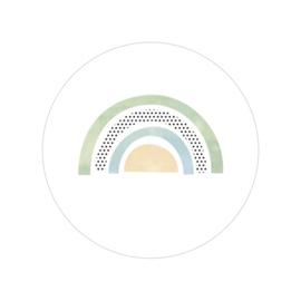 48 ronde stickers | Regenboog - aquarel groen
