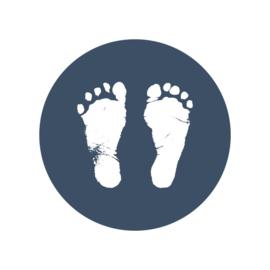 24 ronde stickers | Voetafdrukjes - donkerblauw