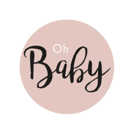 42 ronde stickers | Oh baby - Oud roze