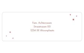 14 adresstickers | Donkerrood ster, hartje & stip