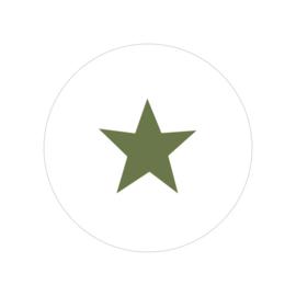 48 ronde stickers   Ster - olijf groen