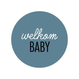 24 ronde stickers | Welkom baby - Oud blauw