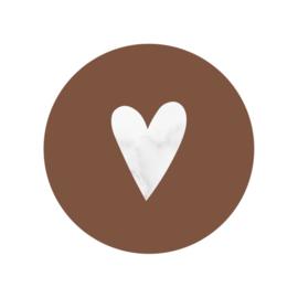 42 ronde stickers | Marmer hart - bruin