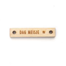 Houten label recht 60x12 mm | DAG MEISJE