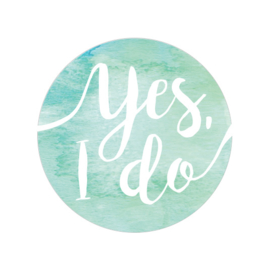 24 ronde stickers | Aquarel blauw/groen - Yes I do