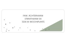 14 adresstickers | Oudgroen vlak met zwarte stip