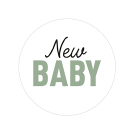 24 ronde stickers | New baby - groen