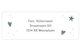 14 adresstickers | Hartjes & ster aquarel - groen