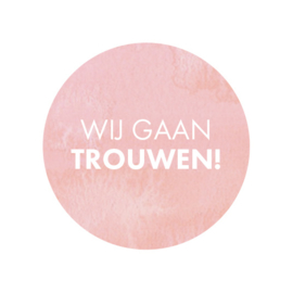 24 ronde stickers | Wij gaan trouwen! - roze