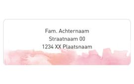 14 adresstickers | AQUAREL - roze