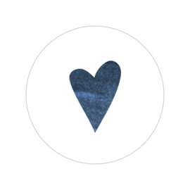48 ronde stickers | Aquarel hartje - blauw