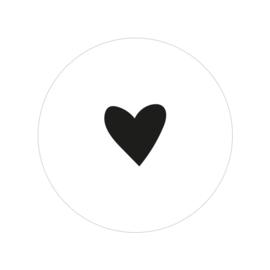 48 ronde stickers | Hartje - zwart