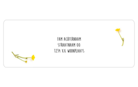14 adresstickers | Boterbloempjes geel