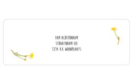 14 adresstickers | BUTTERCUP LOVE - boterbloem geel