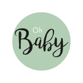 42 ronde stickers | Oh baby - Oud groen
