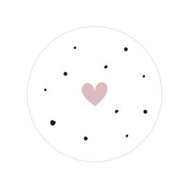 24 ronde stickers | Stipjes & hartje - Oud roze