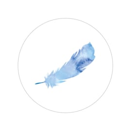 24 ronde stickers | Feather / veer - blauw