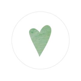 48 ronde stickers | Aquarel hart - oudgroen