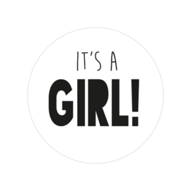 24 ronde stickers | 'It's a girl!' wit - zwart