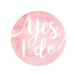 24 ronde stickers | Aquarel roze - Yes I do