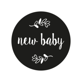 24 ronde stickers | New baby - zwart