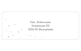 14 adresstickers   Oudgroen ster, hartje & stip
