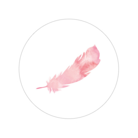 24 ronde stickers | Feather / veer - roze