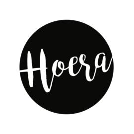 24 ronde stickers | Hoera - zwart