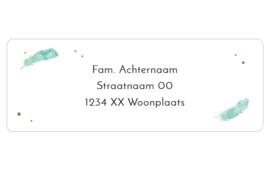 14 adresstickers | AQUAREL FEATHER - groen