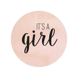 24 ronde stickers | It's a girl - peach aquarel