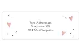 14 adresstickers   Aquarel hart - steenrood