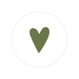 48 ronde stickers | Hartje - olijf groen