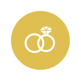 24 ronde stickers | Okergeel trouwring