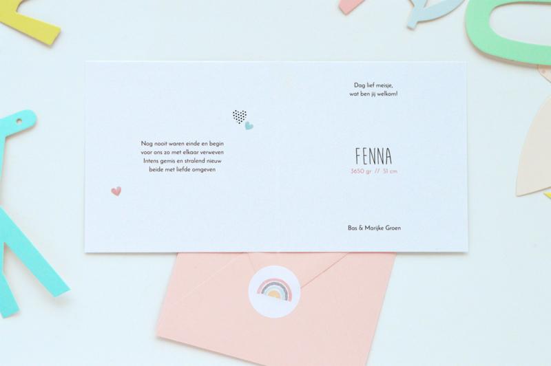 48 ronde stickers | Regenboog - aquarel roze