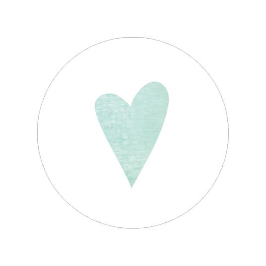 24 ronde stickers | Aquarel - groen hartje