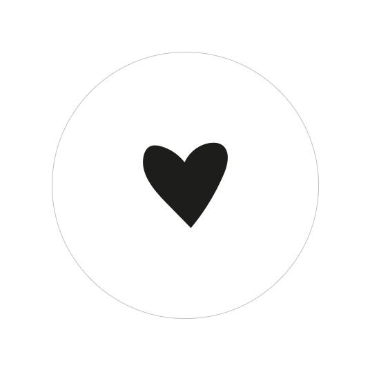 24 ronde stickers | Hartje - zwart