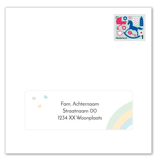 14 adresstickers | LIEF WOLKJE groen-geel-blauw