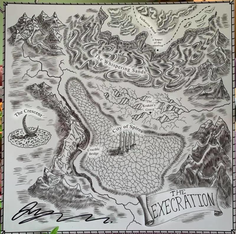 Landkaart uit 'De Zeven Zwaarden' van Anthony Ryan * Gesigneerd!