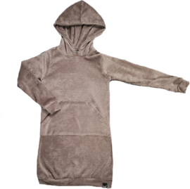 Rib taupe hoodie jurk