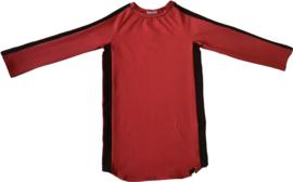 Rood met zwart streep jurkje + haarbandje