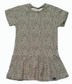 Roes jurk panter sand korte mouw